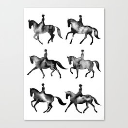 Dressage Horse Silhouettes Canvas Print
