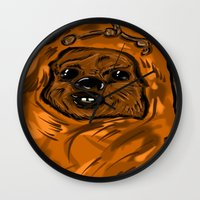 ewok Wall Clocks featuring Ewok by Art of Fernie