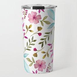 Watercolor Botanical Floral Leaves by Ms. Parasol Travel Mug