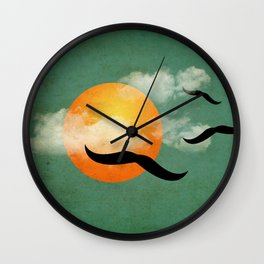 mustaches in the sky Wall Clock