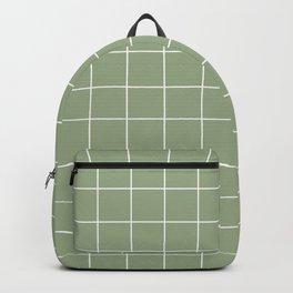 Grid Pattern Sage White 9AAB89 Stripe Line Minimal Stripes Lines Spring Summer Backpack
