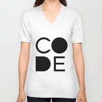 code V-neck T-shirts featuring CODE by Nelson Marteleira