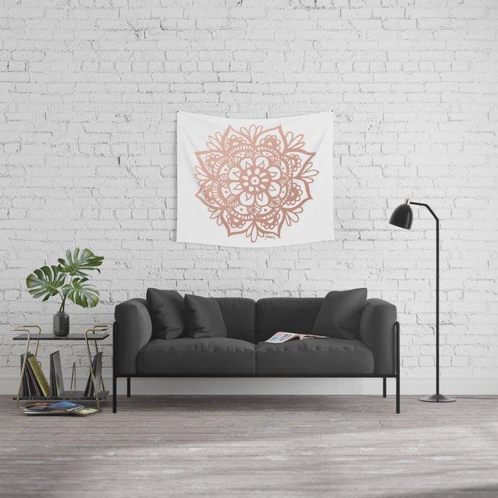 Rose Gold Mandala Wall Tapestry