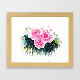 Burst Roses Framed Art Print