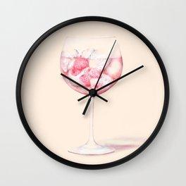 Pink Gin Watercolour Wall Clock