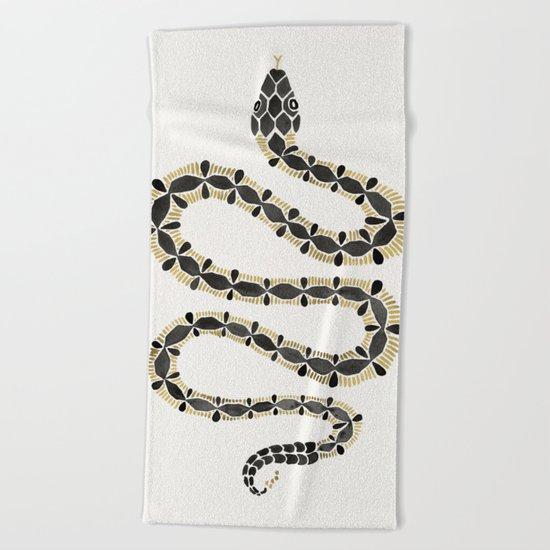 Serpent – Black & Gold Beach Towel