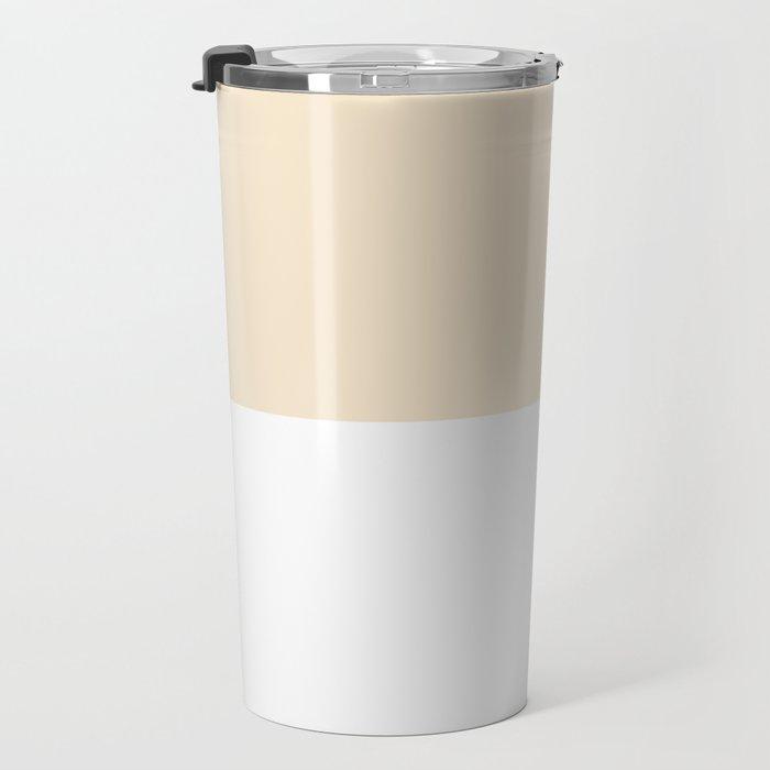 White and Champagne Orange Horizontal Halves Travel Mug