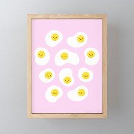 Cute Fried Eggs Pattern Framed Mini Art Print