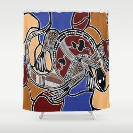 Aboriginal Art - Goanna (lizard) Dreaming Shower Curtain