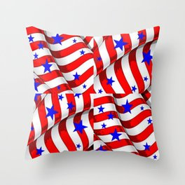 RED PATRIOTIC JULY 4TH BLUE STARS ART Throw Pillow