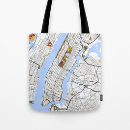 New York City Map United States Mondrian color Tote Bag