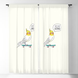 Skater Cockatiel - Just Keep Going Blackout Curtain