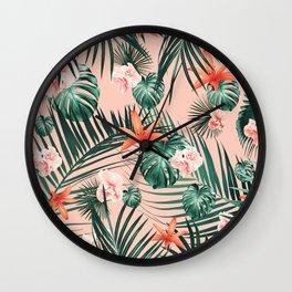 Tropical Flowers & Leaves Paradise #1 #tropical #decor #art #society6 Wall Clock