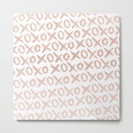 Elegant faux rose gold blush pink love xoxo typography pattern Metal Print