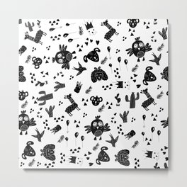 Modern black and white whimsical cute animal cactus balloon black white cartoon illustration pattern Metal Print