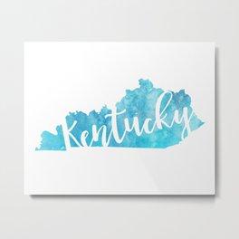 Kentucky Script Map Metal Print