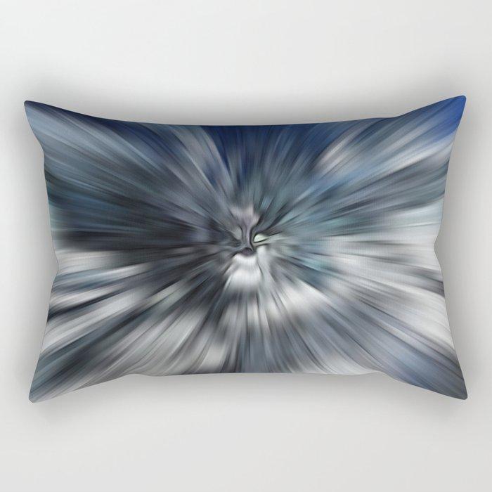 Abstract Black And Blue Starburst Rectangular Pillow