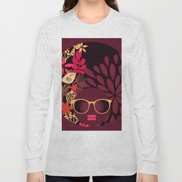 Afro Diva : Sophisticated Lady Deep Pink & Burgundy Long Sleeve T-shirt