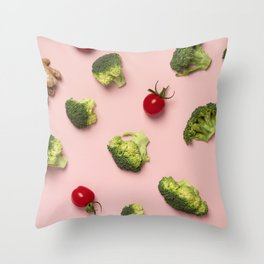 Colorful pattern of tomatoes, broccoli, ginger on a pink background Throw Pillow