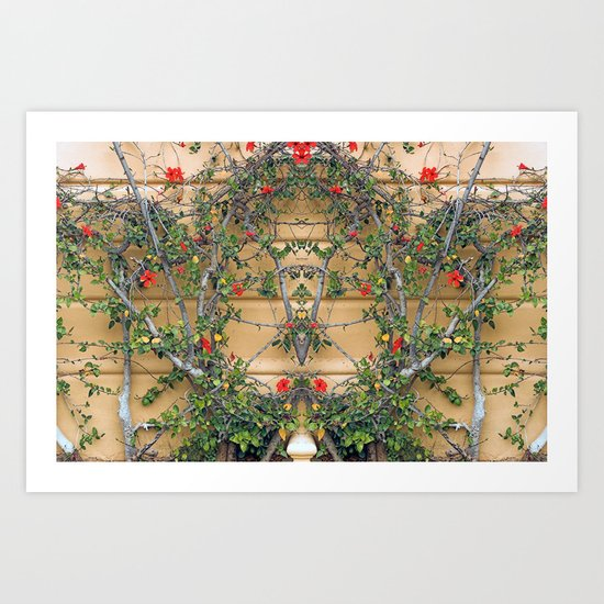 Red flowers on the yellow wall Art Print