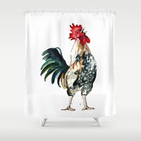 rooster Shower Curtains featuring Rooster by Bridget Davidson