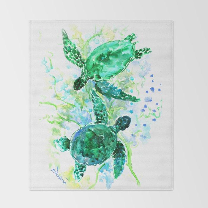 Sea Turtles Underwater Scene Turquoise Blue design, bright blue green design Throw Blanket