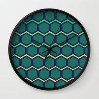 hexagon Wall Clocks featuring hexagon by vidikay