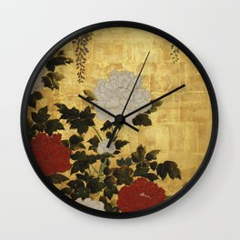 Vintage Japanese Floral Gold Leaf Screen With Wisteria and Peonies Wall Clock