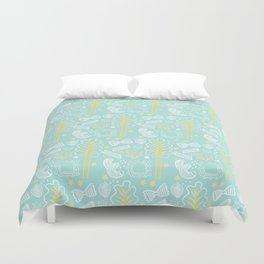 Blue Pasta and Chard Duvet Cover