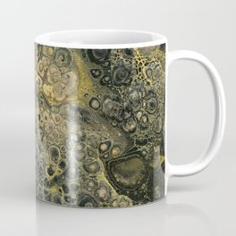 Fluid Black And Gold Acrylic Pour Painting Coffee Mug