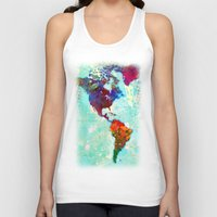 map Tank Tops featuring Abstract Watercolor World Map by Gary Grayson