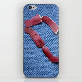 St Valentine design with potato peel on blue background iPhone Skin