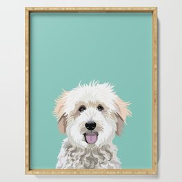 Golden Doodle pet portrait art print and dog gifts Serving Tray