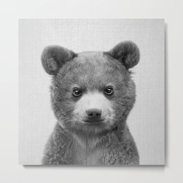 Baby Bear - Black & White Metal Print