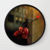 polka dots Wall Clocks featuring Polka Dots by Bella Blue Photography