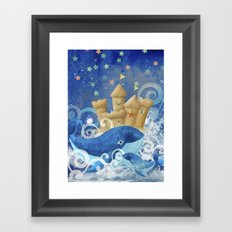 Sandcastle Waves Whales Framed Art Print