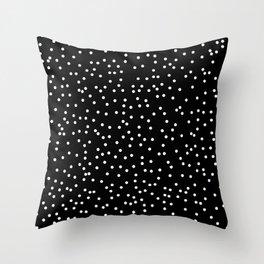 White Dots on Black Throw Pillow