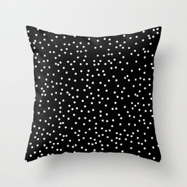 White Dots on Black Throw Pillow