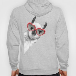 Fashion Hipster Llama with Glasses Hoody
