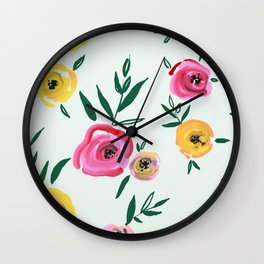 hand draw floral pattern Wall Clock
