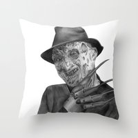 freddy krueger Throw Pillows featuring Freddy Krueger by axemangraphics