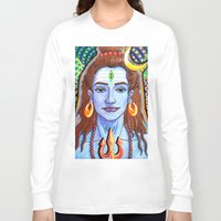 shiva Long Sleeve T-shirts featuring Shiva Pop by Deepak Puri
