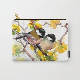 Birds in the Spring, Chickadee birds, birds adn flowers Carry-All Pouch