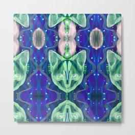 Pixel Galacticat Blue/Green Metal Print