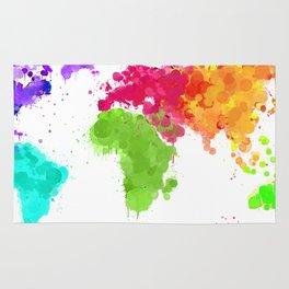 World map ink droplets splash  Rug
