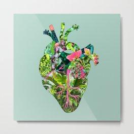 Botanical Heart Mint Metal Print