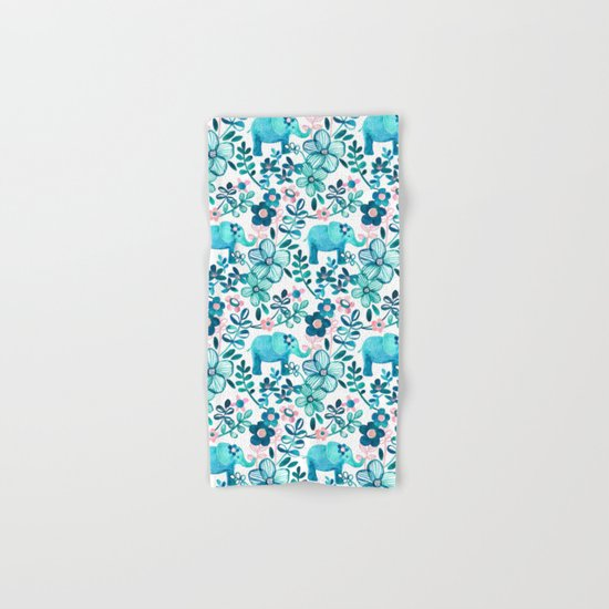 Dusty Pink, White and Teal Elephant and Floral Watercolor Pattern Hand & Bath Towel