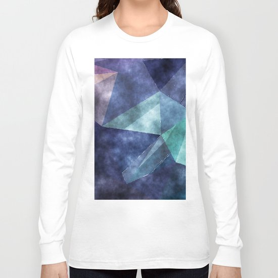 The deep blue sea- Watercolor triangles pattern in blue colors Long Sleeve T-shirt
