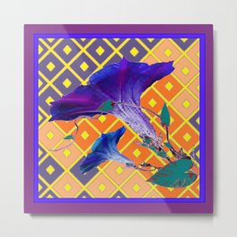 Gold & Purple Garden Floral Art Metal Print