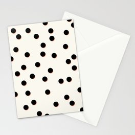 Black & Coral Dots Stationery Cards